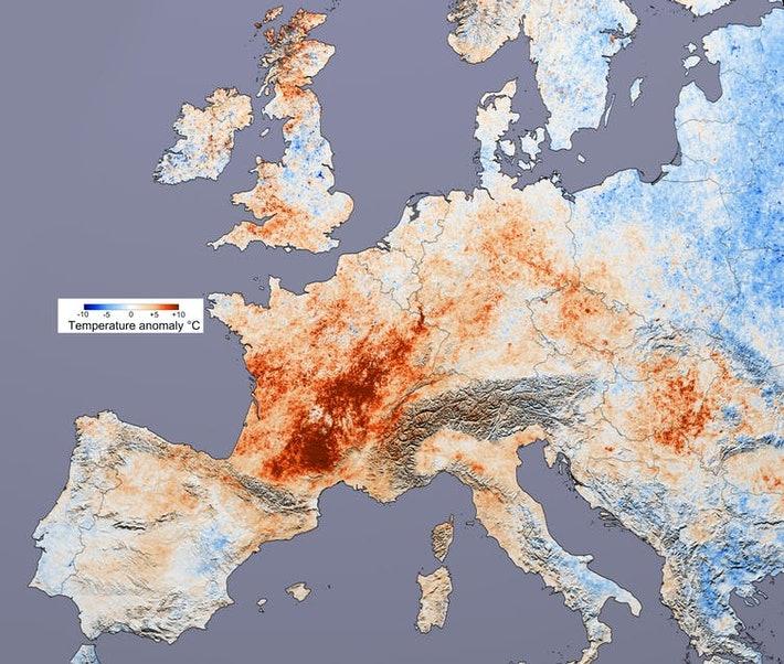 Vročinski val leta 2003  Vir: NOAA