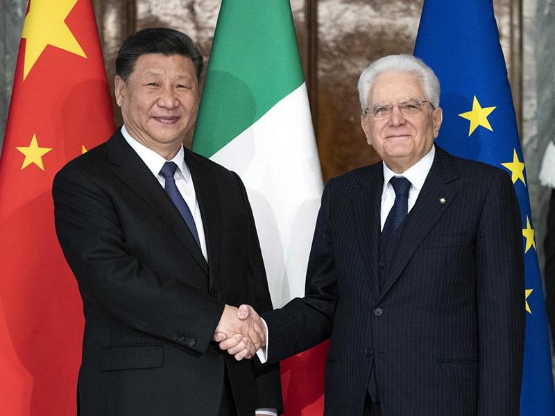 Xi Jinping in Sergio Mattarella