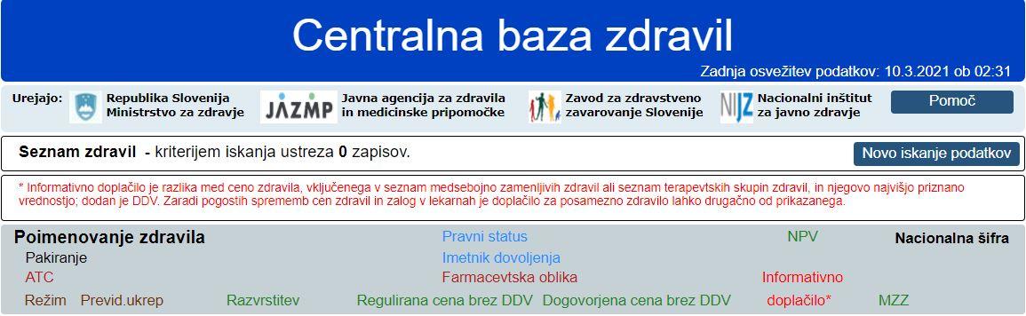 Zdravila banlanivimab v centralni bazi - ni.  Vir:Posnetek zaslona